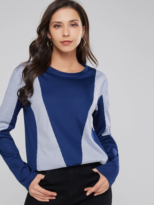 Color Block Scoop Neck Loose Fit Women's Sweatshirt