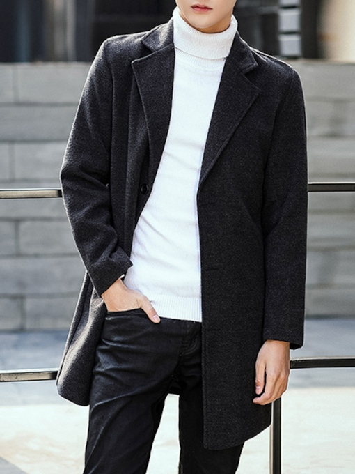 Korean Slim Lapel Mid-Length Plain Men's Coat