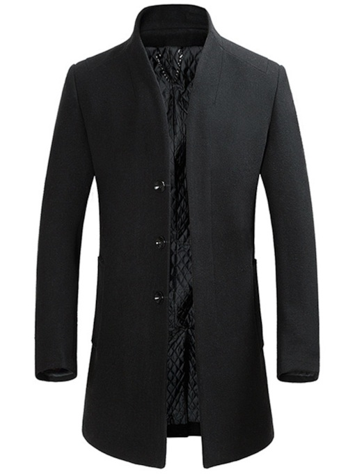 Slim Stand Collar Mid-LengthPlain Men's Coat