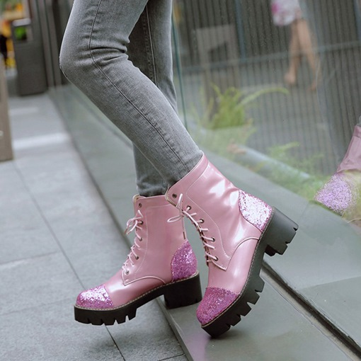 Round Toe Lace-Up Front Chunky Heel Sequin Glitter Martin Boots