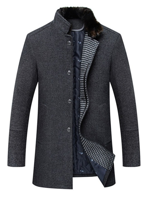 Casual Slim Plain Lapel Mid-Length Men's Coat