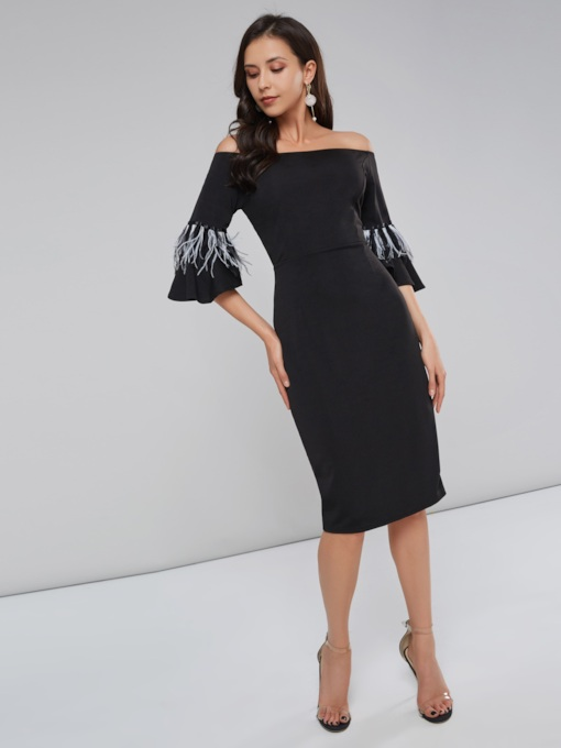 Flare Sleeve Feather Off Shoulder Women's Day Dress