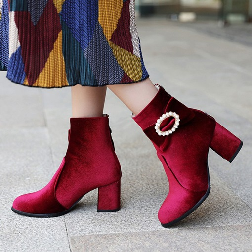 Suede Round Toe Back Zip Bowknot Rhinestone Exquisite Ankle Boots