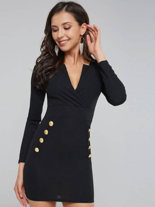 Button Long Sleeve Women's Bodycon Dress
