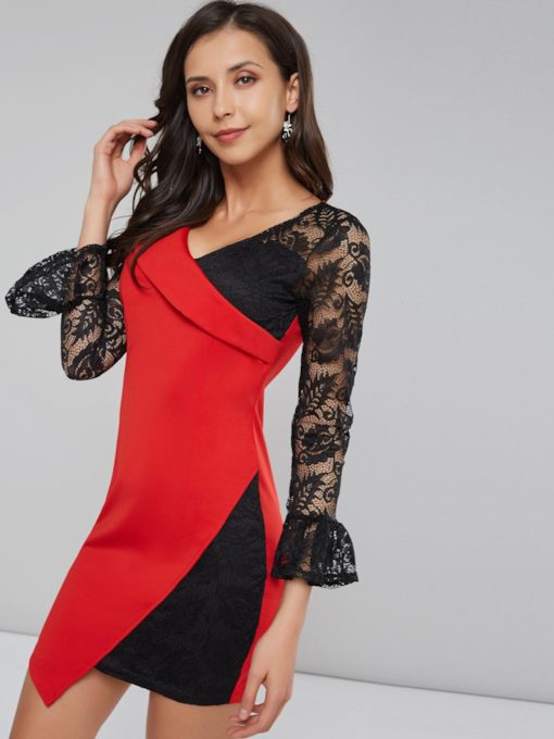 Lace Patchwork Women's Long Sleeve Dress
