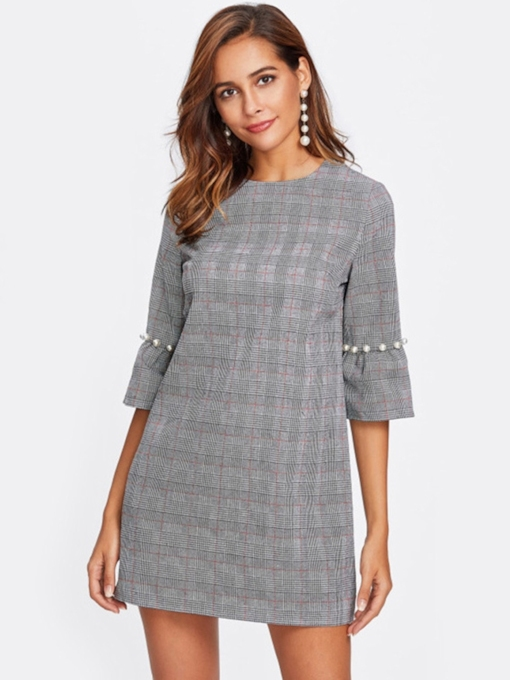 3/4 Length Sleeves Plaid Women's Day Dress
