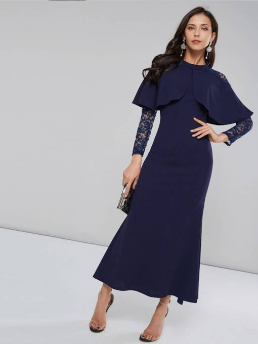 Stand Collar Lace Women's Maxi Dress