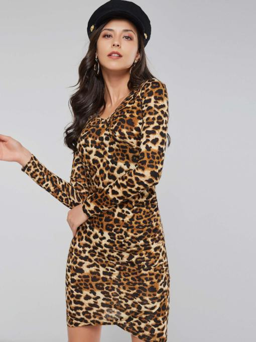 Leopard Long Sleeve Women's Bodycon Dress