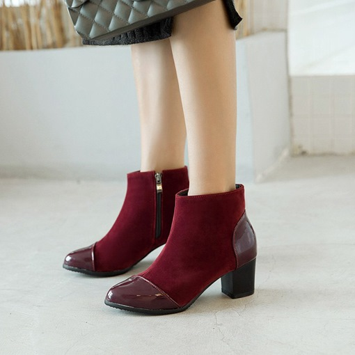 Chunky Heel Round Toe Side Zipper Patchwork Chic Women's Ankle Boots