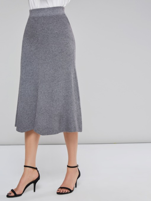 A Line Mid Calf Women's Skirt