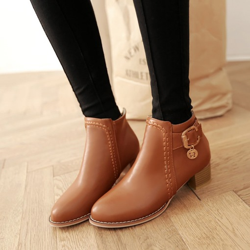 Round Toe Back Zip Chunky Heel Sewing Buckle Sweet Women's Ankle Boots