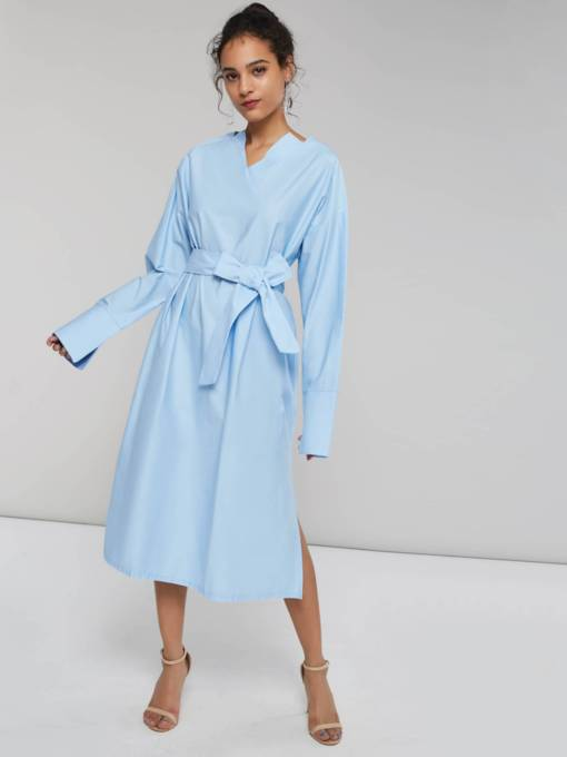 V-Neck Belt Women's Long Sleeve Dress