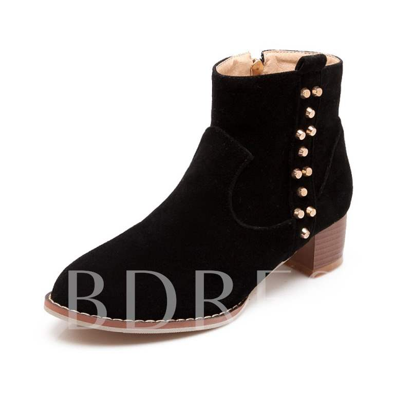 Buy Round Toe Side Zipper Chunky Heel Short Floss Sewing Ankle Boots, Spring,Fall,Winter, 13454429 for $44.51 in TBDress store