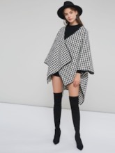 Asymmetric Batwing Sleeve Plaid Women's Trench Coat