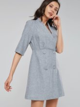 Notched Lapel Double-Breasted Women's Day Dress