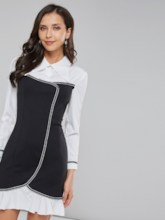 Polo Neck Patchwork Women's Long Sleeve Dress