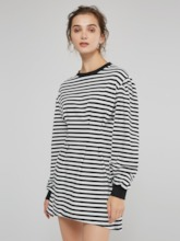 Stripe Round Neck Women's Long Sleeve Dress