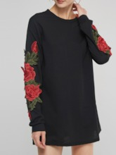 Embroidery Floral Women's Long Sleeves Dress