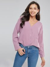 Solid Color Single-Breasted Long Sleeve Women's Shirt