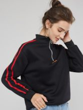 Quarter Zip Fleece Stand Collar Pullover Women's Sweatshirt