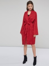 Elegant Lace Up Solid Color Mid-Length Women's Trench Coat