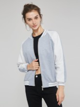 Stand Collar Contrast Color Women's Jacket