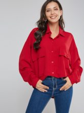 Wide Double Pocket Single-Breasted Women's Shirt