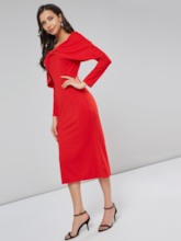 Bodycon Patchwork Pullover Women's Long Sleeve Dress