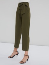 Army Green Lace-Up Slim Fit Women's Paper Bag Pants