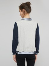 Letter Patches Loose Fit Stand Collar Women's Jacket