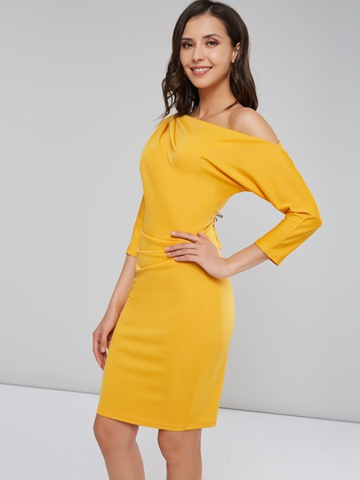 Image of 3/4 Length Sleeves Plain Womens Bodycon Dress