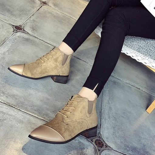 Suede Elastic Band Cross Strap Pointed Toe Versatile Ankle Boots