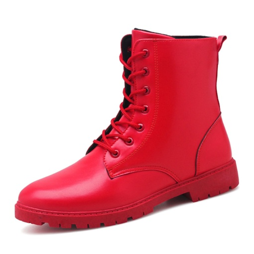 Round Toe Lace-Up Front Mid-Calf Plain Casual Men's Martin Boots