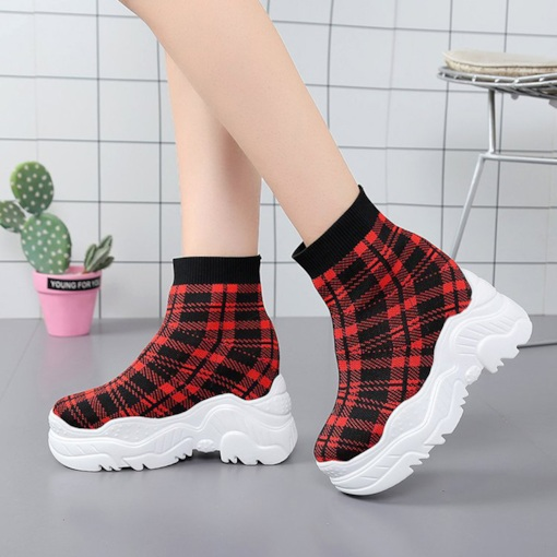 Slip-On Plaid Pattern Platform Trendy Elevated Women's Ankle Boots