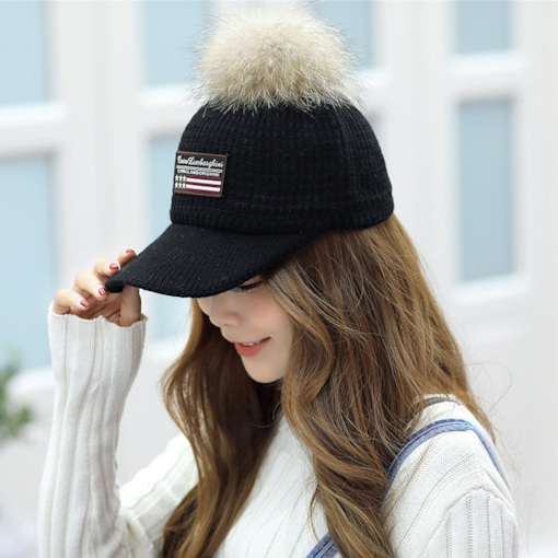 Winter Sweet Pompon Design Cotton Baseball Cap