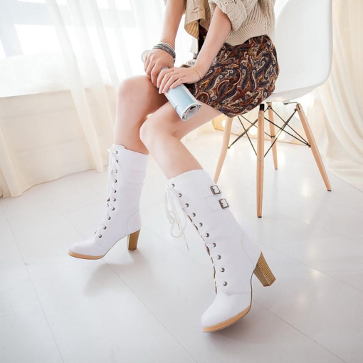 Lace-Up Front Chunky Heel Buckle Round Toe Fashion Mid Calf Boots