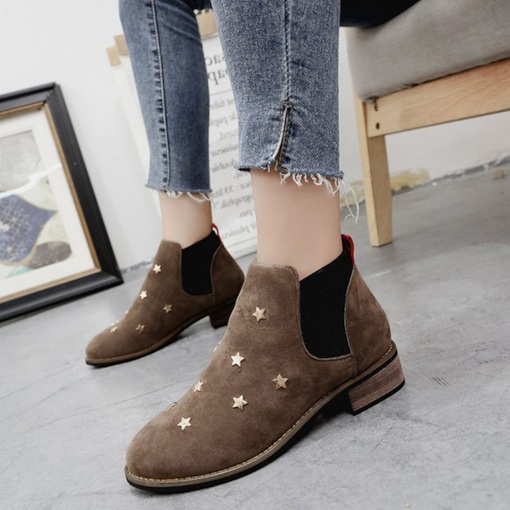 Suede Sewing Rivet Stars Elastic Band Block Heel Flat Ankle Boots
