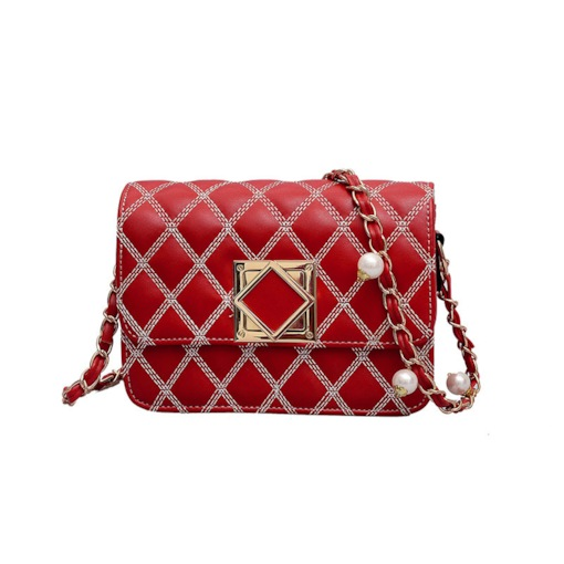 PU Plain Quilted Lining Rectangle Magnetic Snap Crossbody Bags