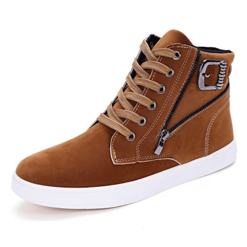 Suede Lace-Up Round Toe Zipper High Top Men's Sneakers