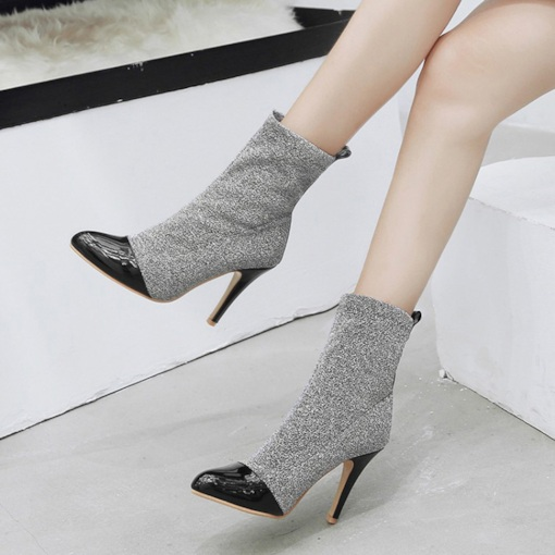 Pointed Toe Slip-On Stiletto Heel Sequin Patchwork Glitter Ankle Boots