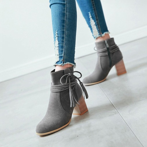 Side Zipper Fringe Round Toe Chunky Heel Cotton Lining Ankle Boots