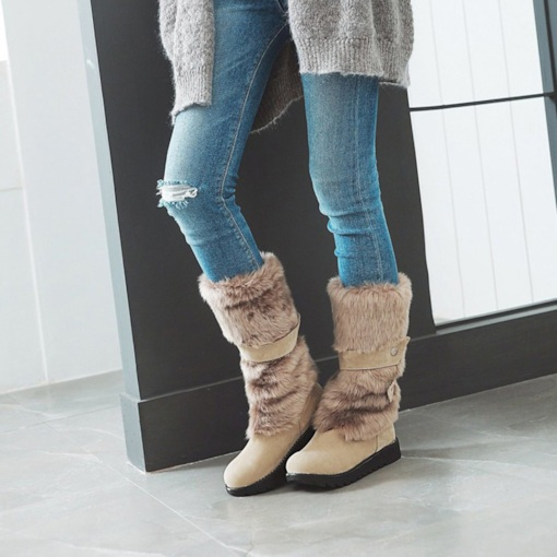 Round Toe Slip-On Platform Patchwork Casual Women's Snow Boots