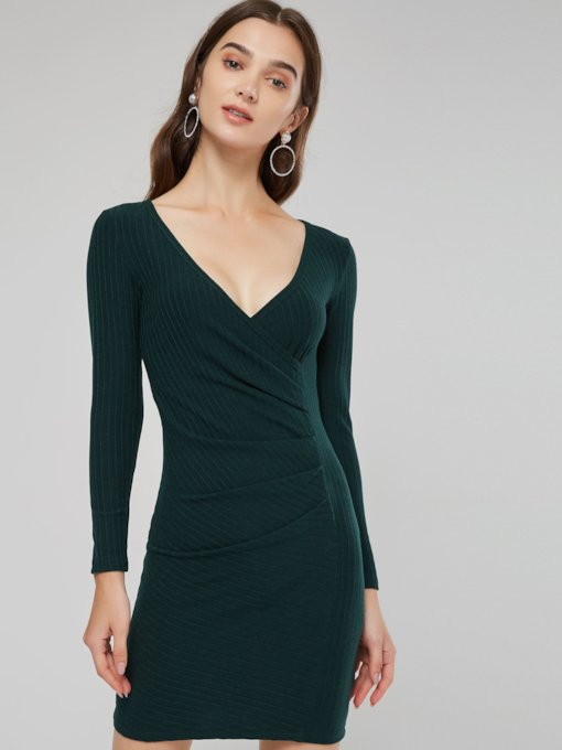 A-Line Long Sleeve Women's Bodycon Dress