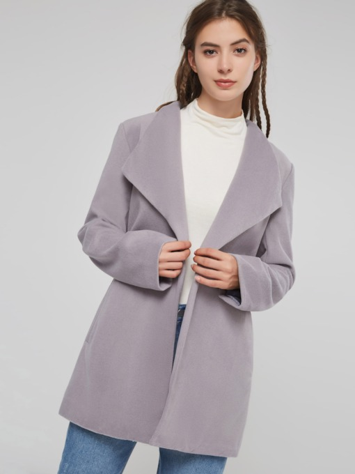 Plain Belt Mid Length Wide Lapel Women's Overcoat