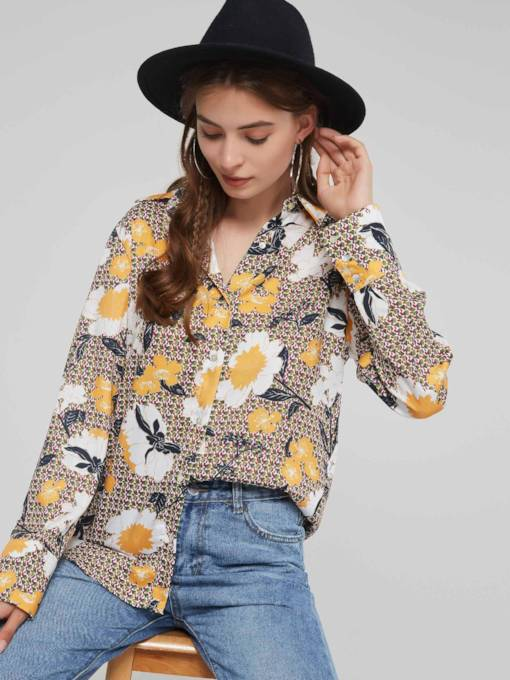Floral Print Single-Breasted Long Sleeve Women's Shirt