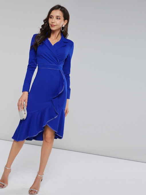 Notched Lapel Asymmetric Women's Long Sleeve Dress