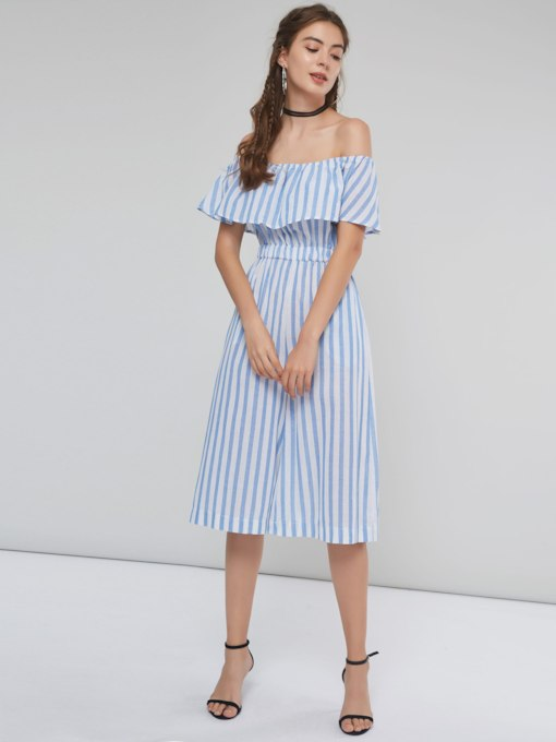 Color Block Stripe Off Shoulder Women's Jumpsuit
