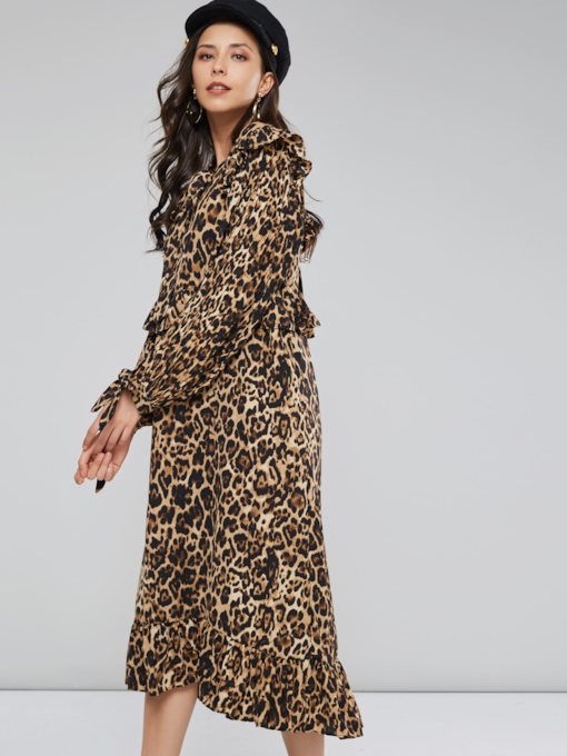 Leopard Long Sleeve Women's Maxi Dress