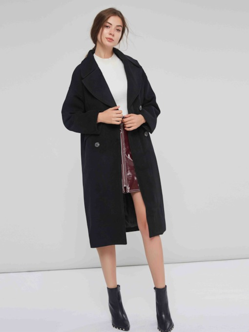 Double-Breasted Notched Lapel Women's Overcoat