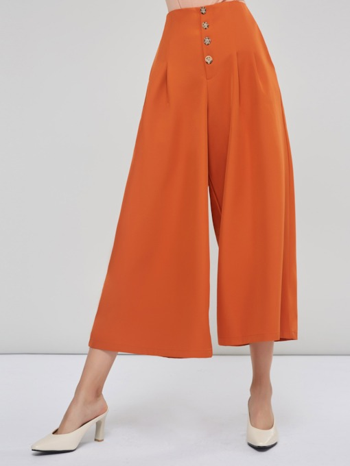 Loose Button Pleated Wide Legs Women's Casual Pants
